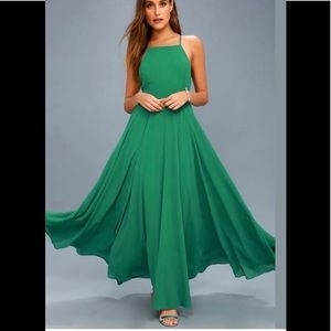 Lulus Mythical Kind of Love Green Maxi Dress Sz S